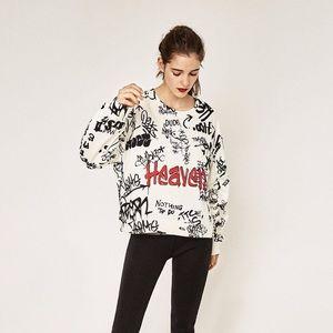 Zara W/B Graffiti Print Oversized Sweatshirt S